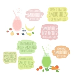 Fruit vegatable smoothies in jar and labels vector