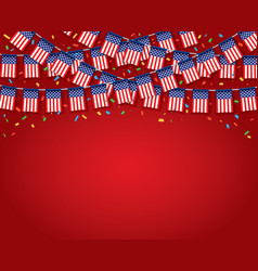 garland usa flags with red background template vector image
