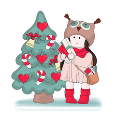 gifts for girl merry christmas color vector image