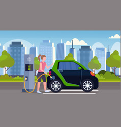 girl charging electric car at city electrical vector image