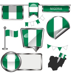 Glossy icons with Nigerian flag vector image