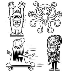 graffiti monsters line art vector image