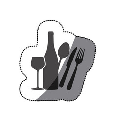 grayscale wine bottle glass and cutlery icon vector image
