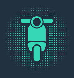 Green scooter icon isolated on blue background vector