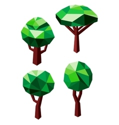 Green trees icons in 3D low poly style vector