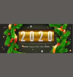 greetings card with christmas or new year 2020 vector image
