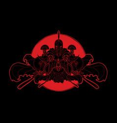 Group of spartan warriors roman helmet vector