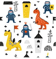 Hand drawn seamless pattern dragons and knights vector