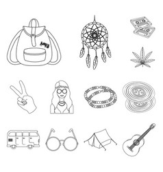 Happy and attribute outline icons in set vector
