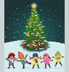happy kids playing near christmas tree under vector image