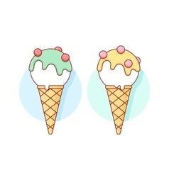 Icon white ice cream scoop in cones different vector