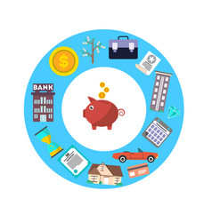 Investment in yourself concept with piggy bank vector