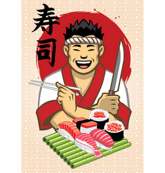 Japanese chef presenting a set sushi vector