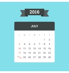 July 2016 Calendar vector image