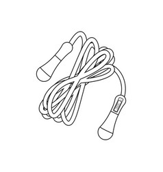 Jump rope with counter outline fitness equipment vector