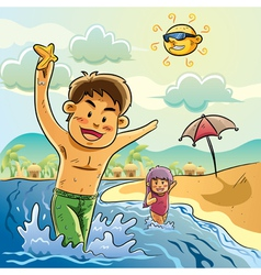 kids playing on the beach vector image