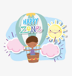kids zone cute little boy flying in hot air vector image