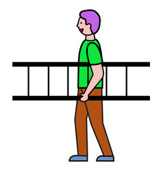 man walking with ladder business concept vector image