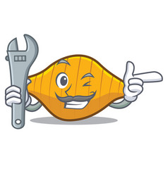 Mechanic conchiglie pasta mascot cartoon vector