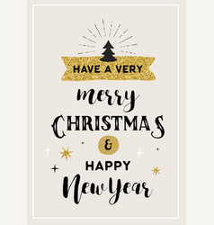 merry christmas hand drawn card lettering design vector image vector image