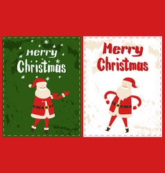 merry christmas wish lettering winter santa claus vector image