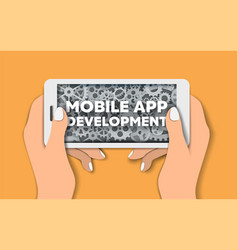 mobile app development poster banner template vector image