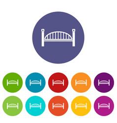 modern arch bridge icons set color vector image