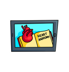 modern tablet shows in virtual reality heart vector image