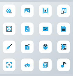 Music icons colored set with full screen jack vector
