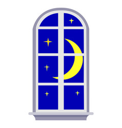 Night window with moon and stars vector
