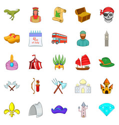 old icons set cartoon style vector image