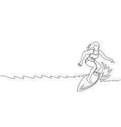 one single line drawing young sporty surfer woman vector image