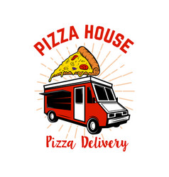 pizza delivery track design element for logo vector image