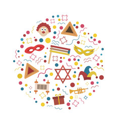 Purim holiday flat design icons set in round shape vector