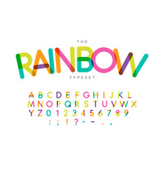 rainbow letters and numbers set festival style vector image