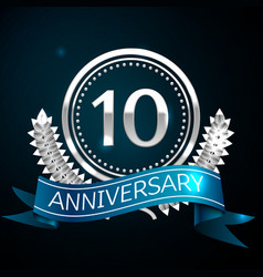 realistic ten years anniversary celebration design vector image