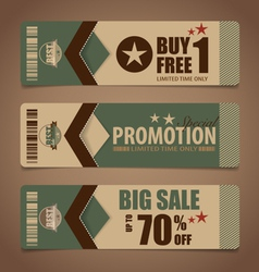Sale Coupon voucher tag Vintage Style template vector image