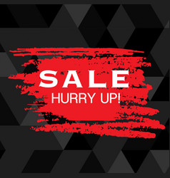 sale hurry up red paint black background im vector image