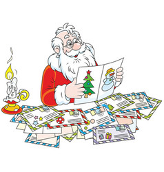 santa claus reading letters vector image