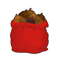 santa shit bag full sack turd big red christmas vector image