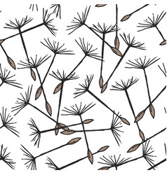Seamless pattern with flying dandelion seeds or vector
