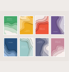 set 8 backgrounds with colorful paper cut vector image