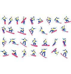set cartoon snowboarder vector image
