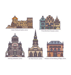 set isolated latvia or latvian architecture vector image