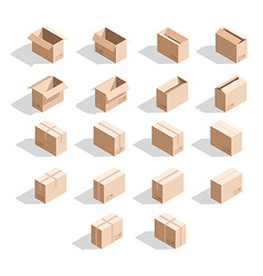 Set of 18 realistic isometric cardboard boxes with vector image