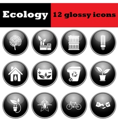 Set of ecological glossy icons vector image vector image