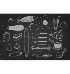 Set of hand drawn doodle food on chalkboard vector
