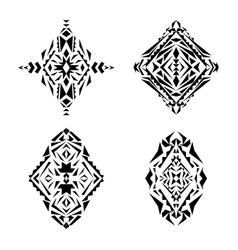 Set of tribal black and white pattern vector