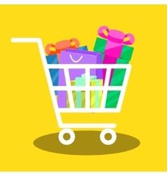 shopping cart full gift boxes vector image