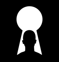 silhouette of man head and keyhole vector image